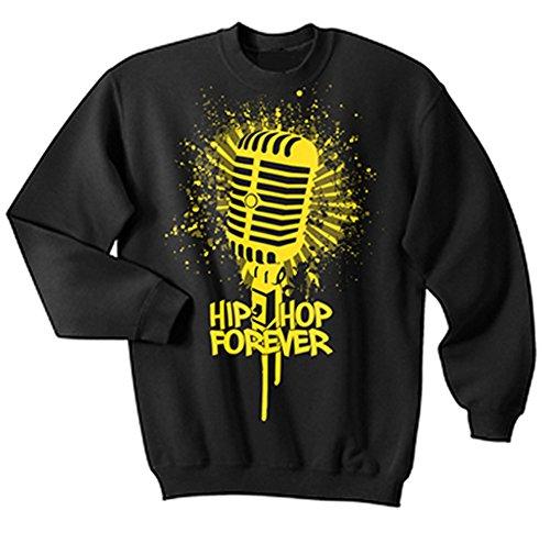 Graphic Villain Hip Hop Forever Microphone Crewneck Sweatshirt. Black. Xx-Large