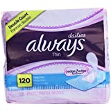 Always Pantiliner Thin Regular Wrapped Unscented 120 Ct