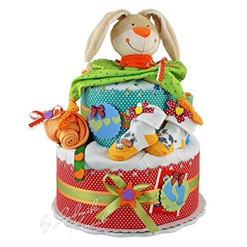 Neutre-gteau-de-couches-Bunny-II-pour-neugebeorene-Baby-S-dans-un-beau-en-rouge-vert-ArgileCadeau-Original-et-Pratique-avec-AllumezCadeau-pour-la-naissance-baptme-baby-shower