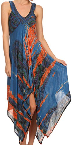 Sakkas Lala Smocked Back Handkerchief Hem V-Neck Sleeveless Dress