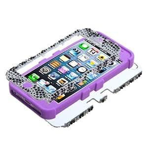 TUFF Case Dual Layer Hybrid Zebra Diamond/Purple Phone Protector for Apple iPhone 5