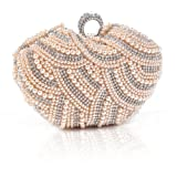 Damara Womens Luxury Special Crystals Beaded Pearl Clutch Bag,Champagne