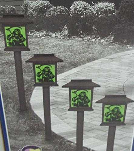halloween solar lantern pathway markers 4pack grim reaper green light