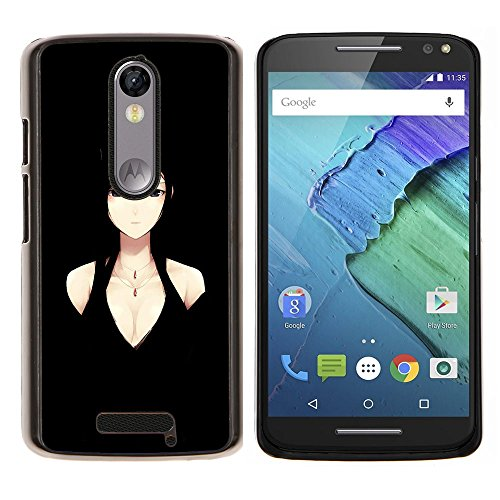 YiPhone /// Premium Slim Snap caso della copertura posteriore Armatura Shell - Donna Anime Character Black Eyes Decolleté - Motorola Moto X3 3rd Generation
