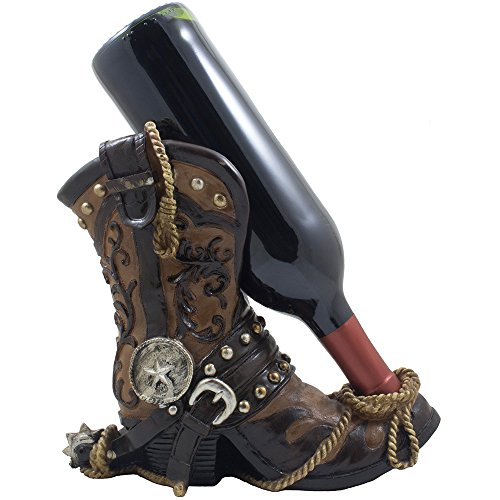 Fancy Cowboy Boot Wine Bottle Holder Decorative Display Stand Statue with Rope, Spur & Texas Star for Country Western Bar Decor and Kitchen Countertop Wine Racks As Great Gifts for Cowboys (Wine Rack For A Gift compare prices)