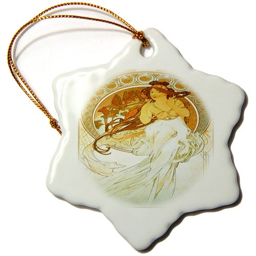 orn_180630_1 Florene - Art Deco And Art Nouveau - Image of nouveau painting poetry by mucha - Ornaments - 3 inch Snowflake Porcelain Ornament