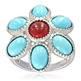 Sterling Silver Sleeping Beauty Turquoise Pendal and Red Agate Pistil Ring