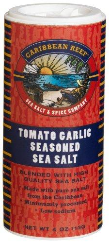 Caribbean Reef Tomato Garlic Seasoned Sea Salt, 4-Ounce Canisters (Pack of 4)