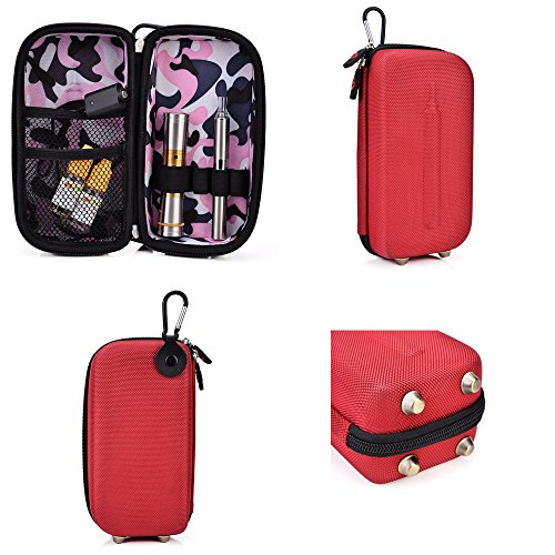 Vape & Mod Portable Travel Case Compatible With Vuse Digital Vapor Cigarettes |Semi-Hard Protective Shell With Standing Capability & Carabiner Hook For Easy Attachment|Red & Pink Camo