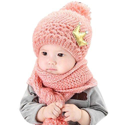 Coper Cute Winter Baby Girls Boys Warm Woolen Coif Hood Scarf Caps Hats (Pink)