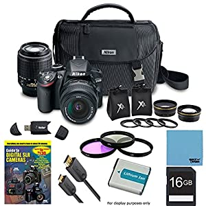 Nikon D3200 Ultimate 4 Lens Experience includes: D3200 Camera, AF-S DX NIKKOR 18-55mm f/3.5-5.6 Lens, 55-200mm F/4-5.6G ED AF-S DX Zoom-Nikkor Lens, 2.5X Telephoto and 0.45X Super Wide Angle high definition lens set, 16GB SD Card, 52mm Filter Set & more