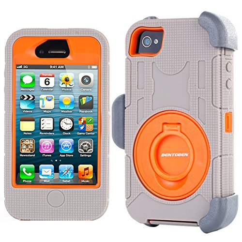 iPhone 4S Case, iPhone 4 Case, BENTOBEN Shockproof Heavy Duty Protection Hybrid Rugged Rubber Built-in Rotating Kickstand Belt Swivel Clip Holster for iPhone 4 4S,Grey/Orange (Cool Case Iphone 4s compare prices)