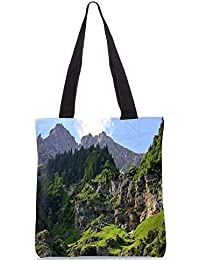 Snoogg Trees On The Mountain Top Digitally Printed Utility Tote Bag Handbag Made Of Poly Canvas