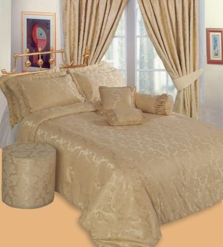 Designer Double Bed Luxury Jacquard Gold Bedspread Set- Regal Modern Embroided Embellished Quilted