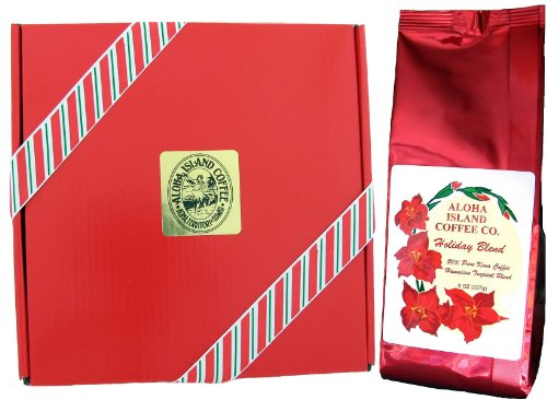 Christmas Coffee, Christmas Gift Box of Kona Hawaiian Coffee, 8 Oz Ground in Gift Box, Yuletide Flavored Kona Blend Coffee, for Christmas, New Years, Corporate Gifts, Hostess Gifts, Teacher Gifts