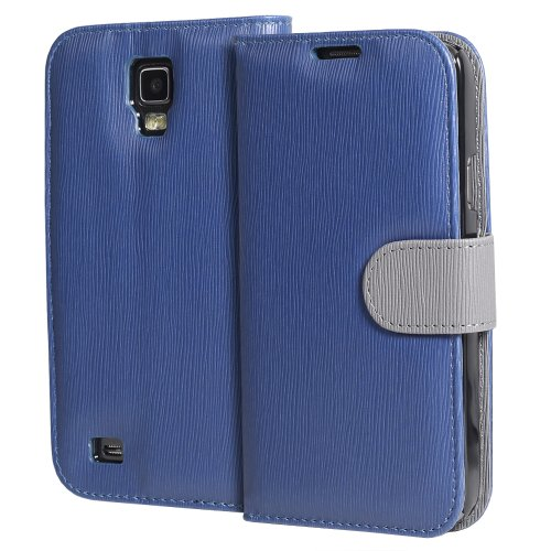 GreatShield LOLLY Series Toothpick Grain Pattern Design Wallet Flip Leather Case Cover (Stand Function) with Card/Cash Pocket Slot for Samsung Galaxy S4 Active / I9295 / SGH-I537 (Navy/Gray)