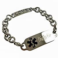 "Women's Love Connection Stainless Medical ID Bracelet FREE Engraving, 6.5"" - 9.5"" from Creative Medical ID"