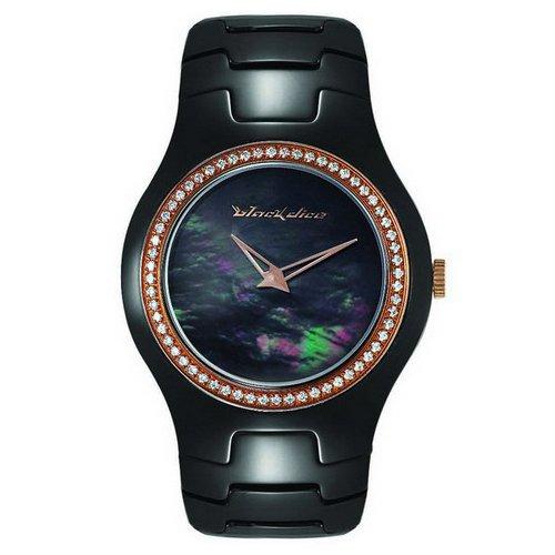 Black Dice 'Showgirl' Ladies Swarovski Crystal Set Black Ceramic Watch