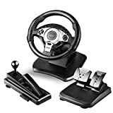 DOYO 900 Degree Rotation Pro Sport Racing Wheel for Multi Platform Compatible PS3/PS4/XBOX ONE/XBOX360/PC/NS SWITCH/Android (Color: Black)