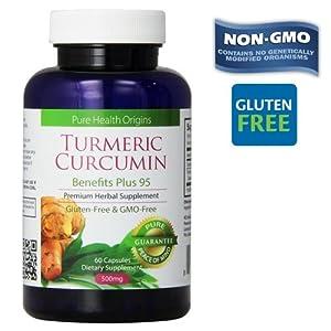 Standardized Turmeric 95%, Turmeric Curcumin Capsules Supplement, Power 95 Formula   Made in USA   100% Gluten-FREE, NON-GMO   Natural Anti-Inflammatory Pain Reliever