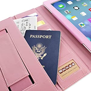 Snugg iPad 3 & 4 Card Slot 'Executive' Leather Case in Candy Pink - Flip Stand Cover with Card Slots, Pocket, Elastic Hand Strap and Premium Nubuck Fibre Interior - Automatically Wakes and Puts the Apple iPad 3 & 4 to Sleep