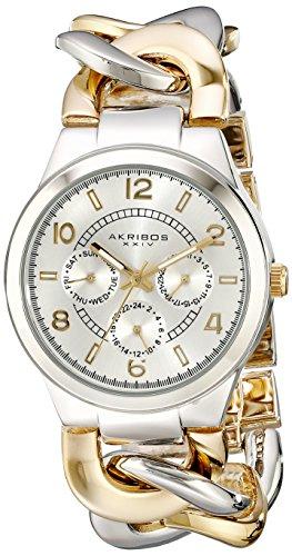 Akribos XXIV Women's AK531TT Ultimate Twist Chain Multi-Function Bracelet Watch