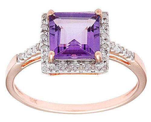 10k Rose Gold 1.85ct Square Amethyst and Diamond Ring