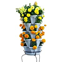 Vertical Gardening Flower Planter - Stone Stacking Pots - Grow Strawberry Herbs Pepper and More with Mr Stacky - Hanging or Freestanding - Indoor or Outdoor - Perfect Gardener Gifts