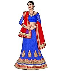 Manvaa Women Net Lehenga Choli(Blue_ASNB2116blue_Free Size)