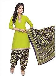 Gugaliya Women's ROYAL CLASS Premium CELEBERATION Series 100 % Cotton UNSTICHED Green Color Salwar, Kameez & Dupatta Suit (Baalar 309)