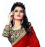 Oomph! Womens Chiffon Saree (anjani_6010_Crimson Red_Free Size)