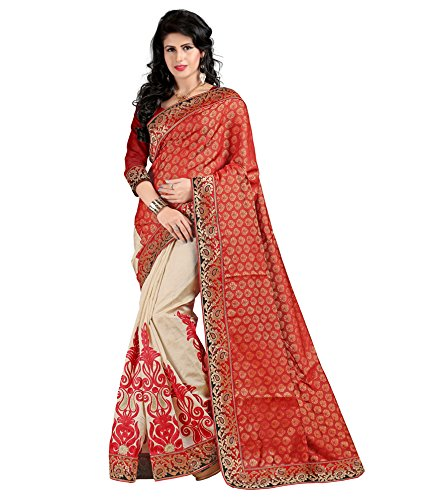 Yashoda Textile Red Color Chanderi Silk Embrodired Sarees With Un-Stitched Blouse Piece (1y.s_540_Red)