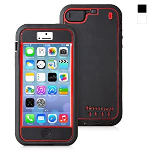 Snugg iPhone 5 Tuff Case in Black and Red - High Quality Slim Profile Non Slip, Protective and Soft to touch for Apple iPhone 5