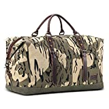 Fresion Canvas Travel Duffel Bag for Men - 39L Leather Carry on Weekend Bag Overnight Hand Bag Camo