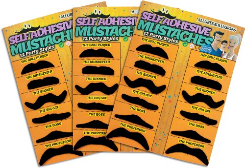 36 Pack Fake Mustache Mustaches Novelty & Toy 36pk -Orange By Allures & Illusions