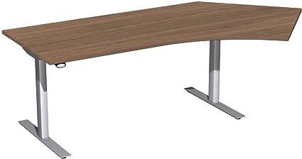 Elettrici Hub tavolo cornice, 135° a destra regolabile in altezza, 2166X 1130x 680-1160, noce/argento, mobili