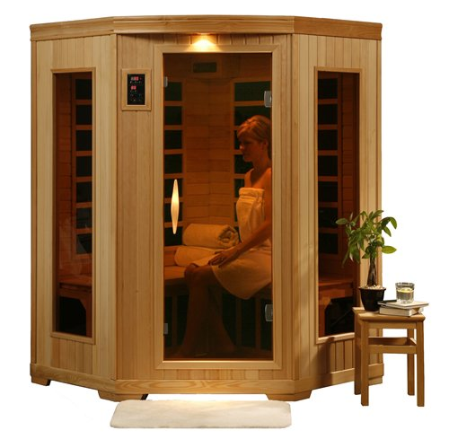 3 Person Corner Sauna Heat Wave Carbon Infrared New