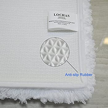LOCHAS Soft Shaggy Bath Mat Bathroom Rug Anti-slip Floor Mats Absorbs Water, 30 x 18inch, White