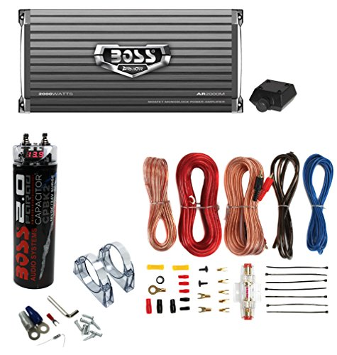 Boss AR2000M 2000W Mono Amplifier with Remote + 2.0 Farad Capacitor + Amp Kit (Package) (2000 Watt Amp Wiring Kit compare prices)