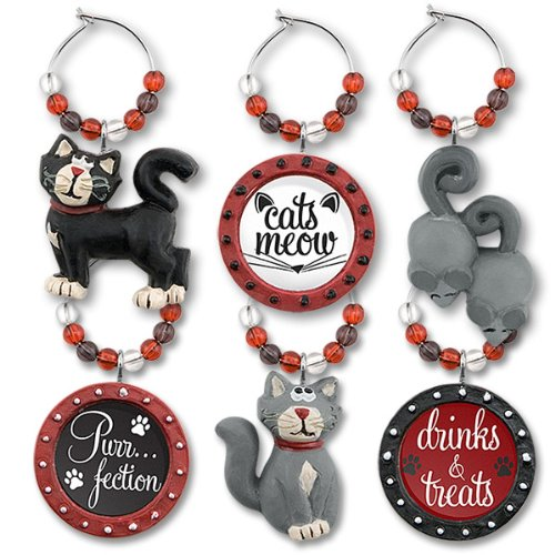 Sculpted Resin Cat Kity Wine Glass Charm - Set of 6
