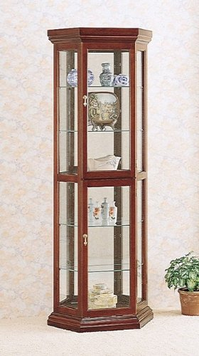 Cheap Cherry finish wood curio cabinet with glass shelves, mirrored back and glass doors (B000XBRQ9Y)