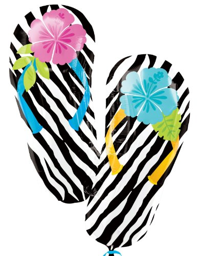 "Wild Isle Flip Flop 33"" Jumbo Foil Balloon Party Zebra Print Birthday Luau front-522302"