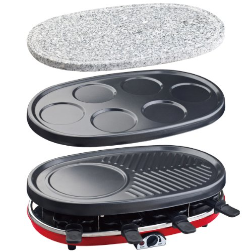 RP418 Raclette-Grill 4 in 1, Raclette, Steingrill, Crêpe-Platte und Grill, 1500 W, schwarz / rot