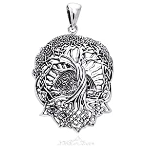 Rising Sun - Interconnected Celtic Knot Tree and Roots of Life Sterling Silver Pendant