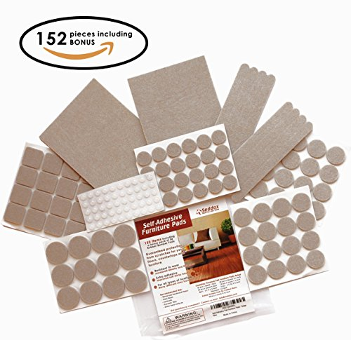 Seddox premium felt furniture pads large set 152 pieces for Chair leg pads for laminate floors