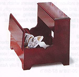 Cherry Finish Wood Bedside Step Stool Storage Stepstool