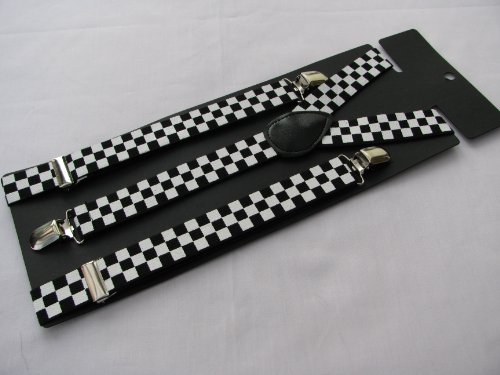 Pair Fashion Braces [suspenders] in a black and white check design. 2.5cm wide , adjustable with metal adjusters and Snap fasteners .