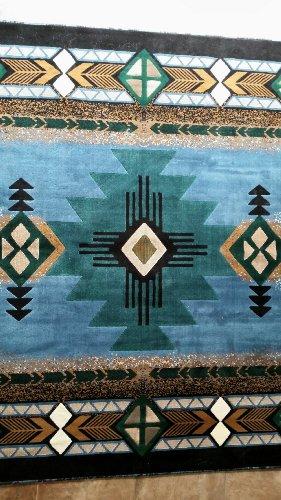 Southwest Native American Area Rug Blue Design #C318 (5ft2in..x7ft)