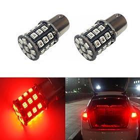 JDM ASTAR Super Bright AX-2835 Chipsets 1157 2057 2357 7528 LED Bulbs For Brake Lights Tail lights Turn Signal, Brilliant Red