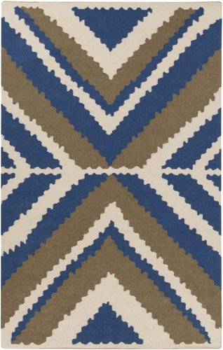 5' x 8' Rectangular Surya Area Rug by Beth Lacefield AMD1046-58 Dark Blue Color Flatwoven in India